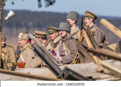 MINSK, REPUBLIC OF BELARUS - MARCH 23, 2019: The Stalin Line Museum Historical and Cultural Complex. Reconstruction of the battle of the First World War of 1915-1916.