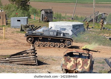 "MINSK, REPUBLIC OF BELARUS - MAY 13, 2019: The international exhibition of weapons and military equipment ""MILEX-2019"". Reconstruction of the battle the Russian and German troops of World War II"