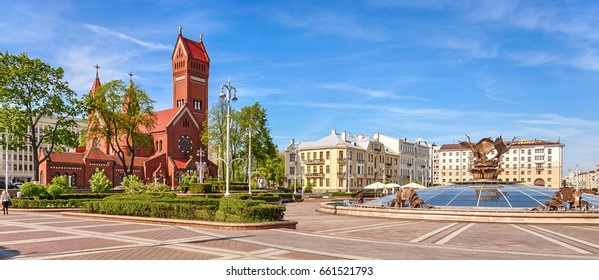 Minsk, Republic of Belarus - May 19, 2017: Independence Square. Catholic church of St. Simeon and St. Helena.