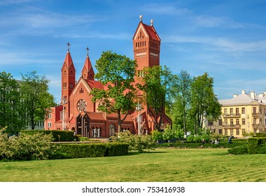 Minsk, Republic of Belarus - May 19, 2017: Catholic church of St. Simeon and St. Helena by the Red Church) - the operating Catholic church in Minsk, a monument of architecture of national importance.