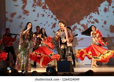 "MINSK, REPUBLIC OF BELARUS - NOVEMBER 13, 2018: Concert ""Kusturitsa show"" gypsy band."