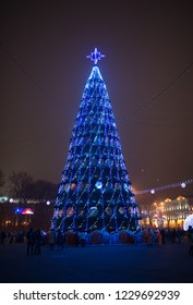 Minsk/Belarus - 01 January 2018: Illumination tree in center Minsk