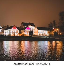 Minsk/Belarus - 01 January 2018: Panoramic historical center Minsk in night