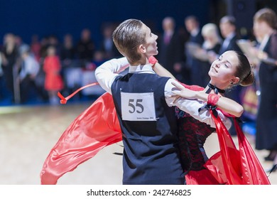 Minsk-Belarus, December 20,2014: Oleshkevich Daniil and Bashlaminova Olga perform Juvenile-1 Standard European program on Gold of The CapitalIDSA Tournament on December 20,2014, in Minsk,Belarus