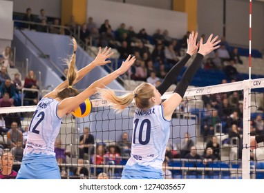 MINSK/BELARUS - DECEMBER 9, 2018: volleyball Superleaque, the match between the teams MINCHANKA and SAKHALIN. Volleyball ball hit in the head of an unknown player