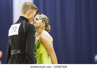 MINSK-BELARUS, FEBRUARY, 17: Unidentified Dance couple performs ADULT Latin-American program on The Championship of the Republic of Belarus 2013 in February 17, 2013 in Minsk, Republic Of Belarus