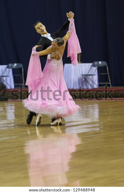 MINSK-BELARUS, FEBRUARY, 17: Unidentified Dance couple performs Adult standard program on The Championship of the Republic of Belarus 2013 in February 17, 2013 in Minsk, Republic Of Belarus