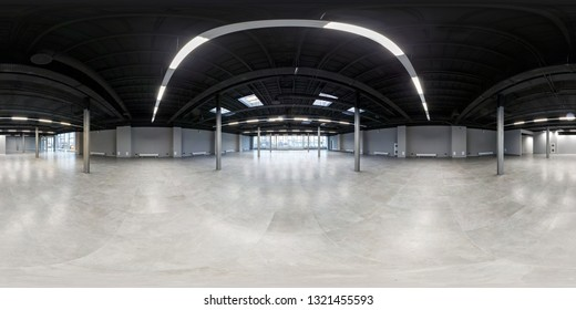 MINSK,BELARUS - FEBRUARY 2019: Empty room without repair. full seamless spherical hdri panorama 360 degrees in interior white loft room for office with panoramic windows in equirectangular projection