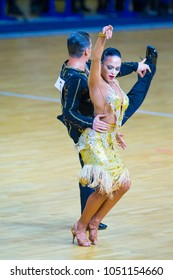 Minsk-Belarus, March 11, 2018: Dance Couple of Igor Doschechko and Polina Pesetskaya Performs Adult Latin -American Program on WDSF National Championship of the Republic of Belarus in March 11, 2018