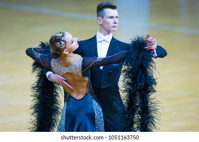 Minsk-Belarus, March 11, 2018:Dance Couple of Alexander Tishuk and Ekaterina Shibeko Performs Youth Standard Program on WDSF National Championship of the Republic of Belarus in March 11, 2018 in Minsk