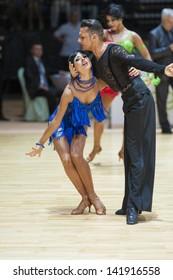 MINSK-BELARUS, MAY, 18: Unidentified Dance couple performs ADULT Latin-American program on World Open Minsk-2013  championship in May 18, 2013 in Minsk, Republic Of Belarus