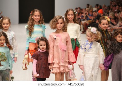 Minsk,Belarus - October 25,2017:Young models walks the runway at the fashion show brand Angie Etolies during the Belarus Fashion Week October 25, 2017 in Minsk