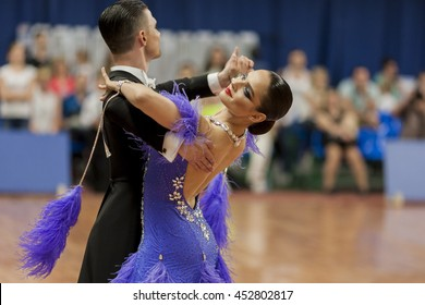 Minsk,Belarus-May 28,2016:Kitcun Andrey and Krepchuk Yuliya Perform Adult Show Case Dance Show During the National Championship of the Republic of Belarus in May 28,2016 in Minsk,Republic of Belarus