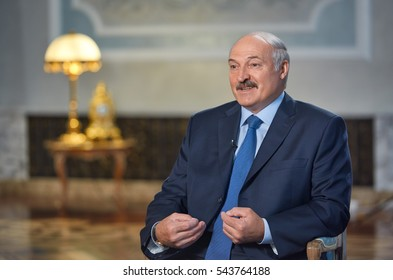MINSK,BELARUS/SEPTEMBER 06,2016: President of Belarus Alexander Lukashenko during an interview with Russian television