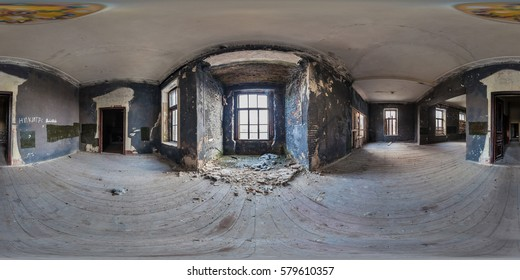 MINSK/ZELUDOK/BELARUS - FEBRUARY 2014, Abandoned ?zetwerty?ski family in the Stomach village, which filmed Masakra. Full 360 equirectangular spherical panorama. virtual reality content