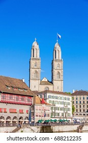 Minster Grossmunster in Zurich, view from square Weinplatz