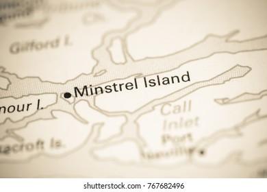 Minstrel Island. Canada on a map.
