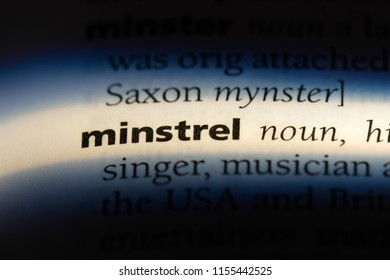 minstrel word in a dictionary. minstrel concept.