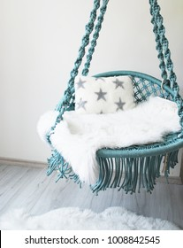 mint blue macramé swing cute