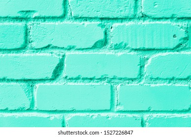 Mint brick wall texture. Background with copy space for design.