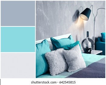 Mint color matching and interior of bedroom