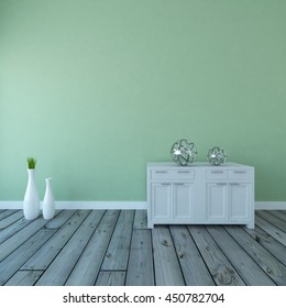 mint empty interior with a dresser and vases. 3d illustration