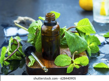 Mint essential oil in bottle .Fresh peppermint leaves with essential oil, alternative medicine