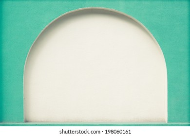 Mint green arc niche in wall for background