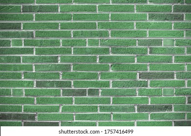 Mint green bricks with concave finished mortar joints, ridged bricks with long thin aspect, creative copy space, horizontal aspect