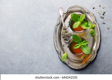 Mint, green tea, Moroccan traditional drink. Copy space. Top view.