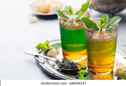 Mint, green tea, Moroccan traditional drink. Copy space.