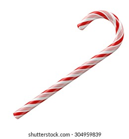 Mint hard candy cane striped in Christmas colours isolated on a white background.
