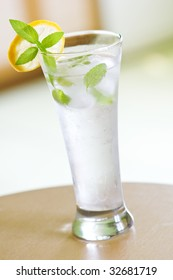 mint and ice drink closeup