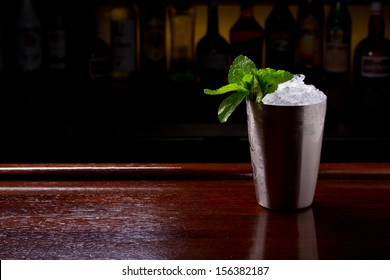 mint julep on the bar