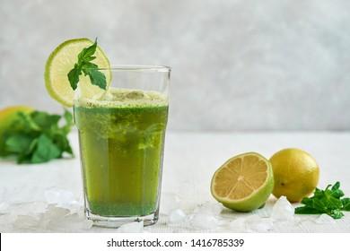 Mint lemonade. Limonana. Middle eastern frozen mint lemonade.