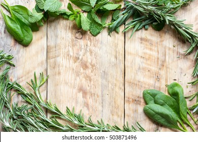 mint, rosemary, thyme - fresh herbs for cooking top view