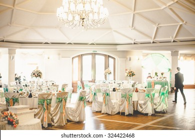 Indoor wedding reception images stock photos vectors shutterstock mint stylish luxury decorated tables for the celebration for a wedding of happy couple cathering junglespirit Choice Image