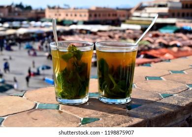 Mint tea served in Marrakesh