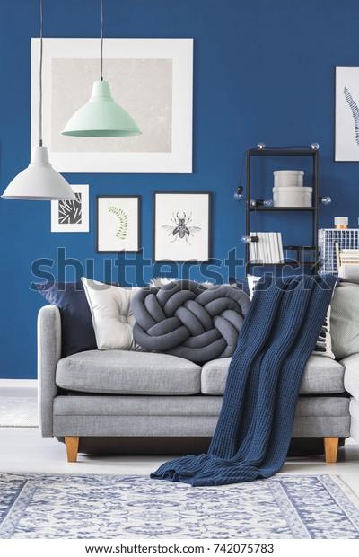 Mint White Lamp Above Grey Sofa Stock Photo Edit Now 742075783