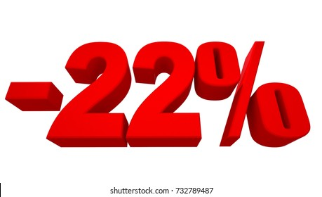 Minus 22 Percent off 3d Sign on White Background, Special Offer 22% Discount Tag, Sale Up to 22 Percent Off,big offer, Sale, Special Offer Label, Sticker, Tag, Banner, Advertising, offer Icon