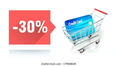 Minus 30 percent sale with credit card and shopping cart