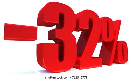 Minus 32 Percent off 3d Sign on White Background, Special Offer 32% Discount Tag, Sale Up to 32 Percent Off,big offer, Sale, Special Offer Label, Sticker, Tag, Banner, Advertising, offer Icon