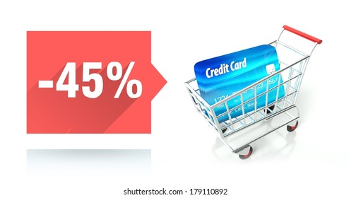 Minus 45 percent sale with credit card and shopping cart