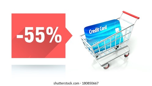 Minus 55 percent sale with credit card and shopping cart