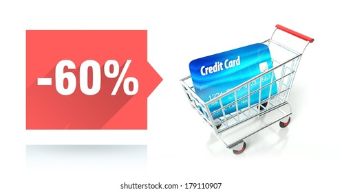 Minus 60 percent sale with credit card and shopping cart