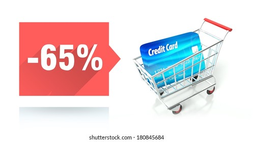 Minus 65 percent sale with credit card and shopping cart