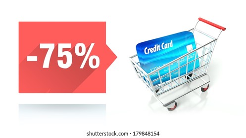Minus 75 percent sale with credit card and shopping cart