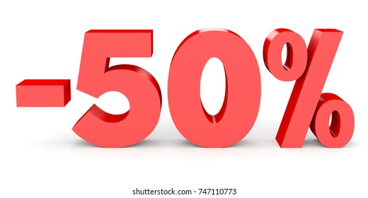 Minus fifty percent. Discount 50 %. 3D illustration on white background.