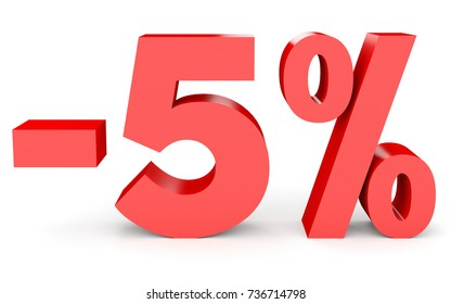 Minus five percent. Discount 5 %. 3D illustration on white background.