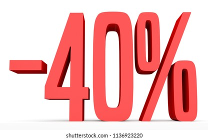 Minus forty percent. Discount 40 %. 3D illustration on white background.